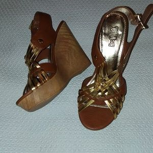 Gorgeous golden and brown wedge sandals